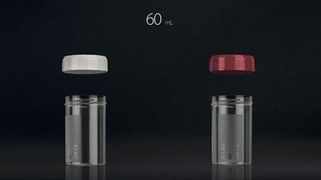 Vizeletes pohár, csavaros tetővel,  60 ml, steril (500 db/doboz)