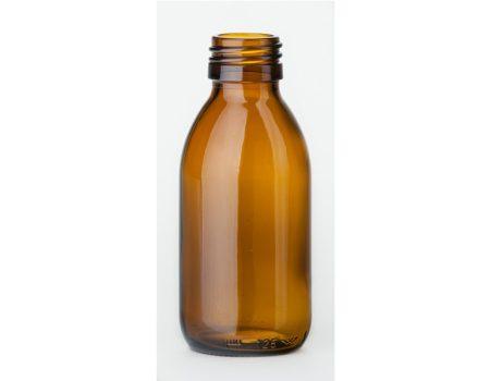 Gyógyszeres üveg, barna, menetes, DIN 28, 150 ml