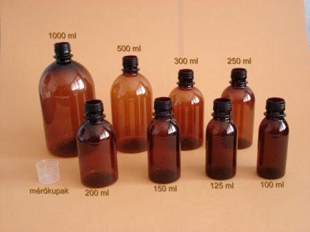 PET palack, barna,  125 ml (100 db/doboz)