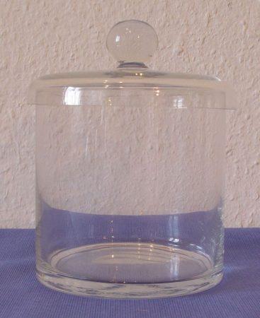 Üvegdoboz, gombos fedővel, 15*15 cm